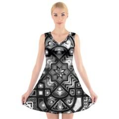 Geometric Line Art Background In Black And White V Neck Sleeveless Skater Dress