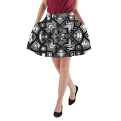 Geometric Line Art Background In Black And White A Line Pocket Skirt