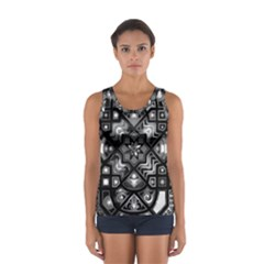 Geometric Line Art Background In Black And White Women s Sport Tank Top