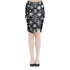 Geometric Line Art Background In Black And White Midi Wrap Pencil Skirt