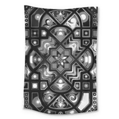 Geometric Line Art Background In Black And White Large Tapestry