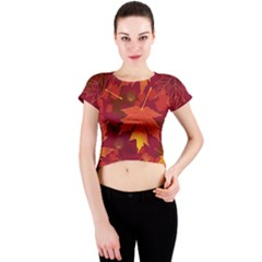 Autumn Leaves Fall Maple Crew Neck Crop Top