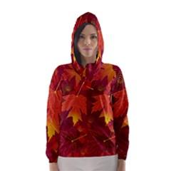 Autumn Leaves Fall Maple Hooded Wind Breaker (women)