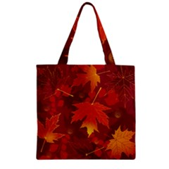 Autumn Leaves Fall Maple Zipper Grocery Tote Bag
