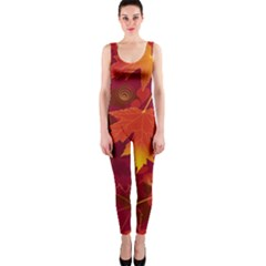 Autumn Leaves Fall Maple OnePiece Catsuit
