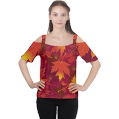 Autumn Leaves Fall Maple Women s Cutout Shoulder Tee