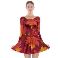 Autumn Leaves Fall Maple Long Sleeve Skater Dress
