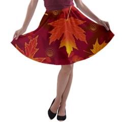Autumn Leaves Fall Maple A Line Skater Skirt