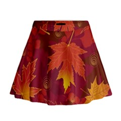 Autumn Leaves Fall Maple Mini Flare Skirt