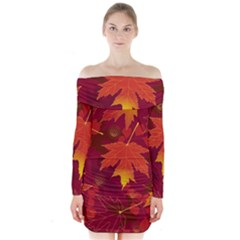 Autumn Leaves Fall Maple Long Sleeve Off Shoulder Dress