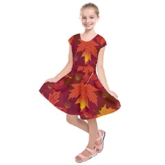 Autumn Leaves Fall Maple Kids  Short Sleeve Dress