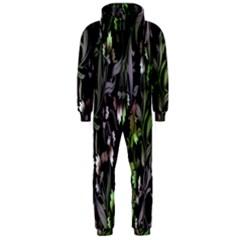 Floral Pattern Background Hooded Jumpsuit (Men)