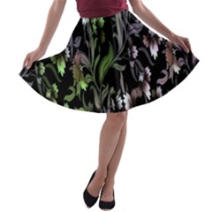 Floral Pattern Background A Line Skater Skirt