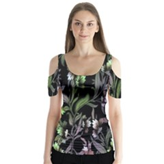 Floral Pattern Background Butterfly Sleeve Cutout Tee
