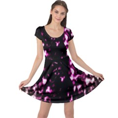 Background Structure Magenta Brown Cap Sleeve Dresses