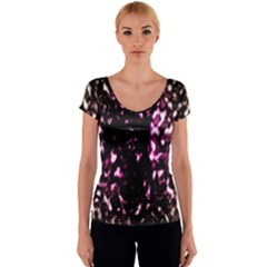 Background Structure Magenta Brown Women s V-Neck Cap Sleeve Top