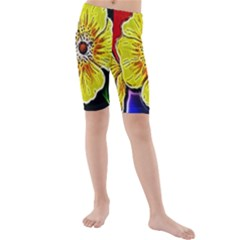 Beautiful Fractal Flower In 3d Glass Frame Kids  Mid Length Swim Shorts