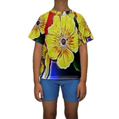 Beautiful Fractal Flower In 3d Glass Frame Kids  Short Sleeve Swimwear