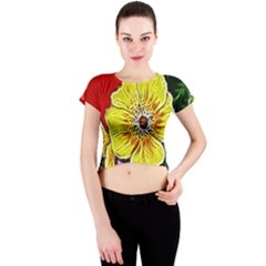 Beautiful Fractal Flower In 3d Glass Frame Crew Neck Crop Top