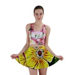 Beautiful Fractal Flower In 3d Glass Frame Mini Skirt