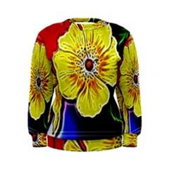 Beautiful Fractal Flower In 3d Glass Frame Women s Sweatshirt