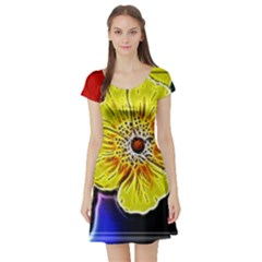 Beautiful Fractal Flower In 3d Glass Frame Short Sleeve Skater Dress