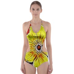 Beautiful Fractal Flower In 3d Glass Frame Cut Out One Piece Swimsuit