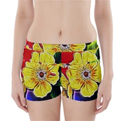 Beautiful Fractal Flower In 3d Glass Frame Boyleg Bikini Wrap Bottoms