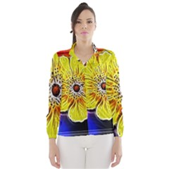 Beautiful Fractal Flower In 3d Glass Frame Wind Breaker (women)