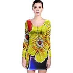 Beautiful Fractal Flower In 3d Glass Frame Long Sleeve Velvet Bodycon Dress