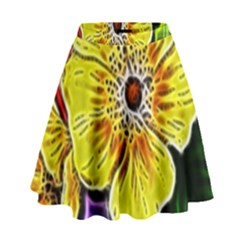 Beautiful Fractal Flower In 3d Glass Frame High Waist Skirt