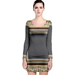 Fractal Classic Baroque Frame Long Sleeve Bodycon Dress