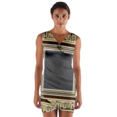 Fractal Classic Baroque Frame Wrap Front Bodycon Dress