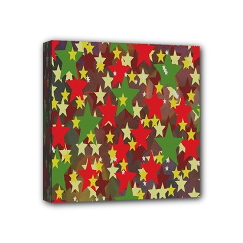 Star Abstract Multicoloured Stars Background Pattern Mini Canvas 4  X 4