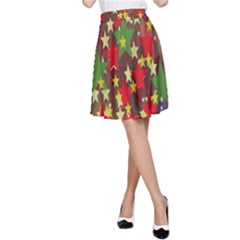 Star Abstract Multicoloured Stars Background Pattern A Line Skirt