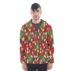 Star Abstract Multicoloured Stars Background Pattern Hooded Wind Breaker (Men)