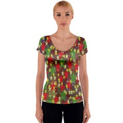 Star Abstract Multicoloured Stars Background Pattern Women s V-Neck Cap Sleeve Top