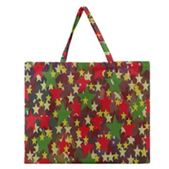 Star Abstract Multicoloured Stars Background Pattern Zipper Large Tote Bag