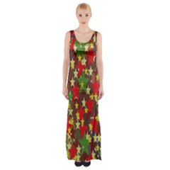 Star Abstract Multicoloured Stars Background Pattern Maxi Thigh Split Dress