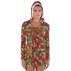 Star Abstract Multicoloured Stars Background Pattern Women s Long Sleeve Hooded T Shirt