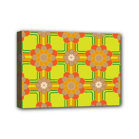 Floral Pattern Wallpaper Background Beautiful Colorful Mini Canvas 7  X 5