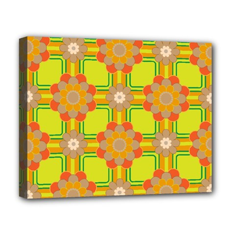 Floral Pattern Wallpaper Background Beautiful Colorful Deluxe Canvas 20  x 16