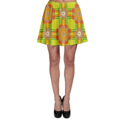 Floral Pattern Wallpaper Background Beautiful Colorful Skater Skirt