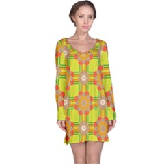 Floral Pattern Wallpaper Background Beautiful Colorful Long Sleeve Nightdress