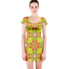 Floral Pattern Wallpaper Background Beautiful Colorful Short Sleeve Bodycon Dress