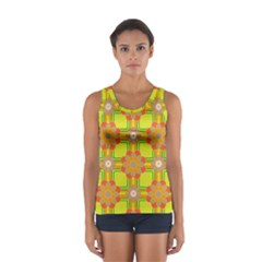 Floral Pattern Wallpaper Background Beautiful Colorful Women s Sport Tank Top