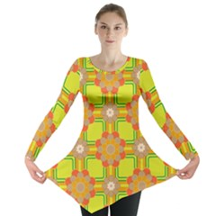Floral Pattern Wallpaper Background Beautiful Colorful Long Sleeve Tunic
