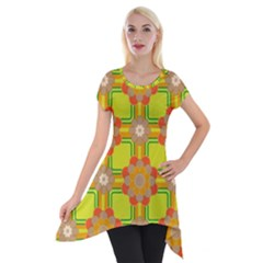 Floral Pattern Wallpaper Background Beautiful Colorful Short Sleeve Side Drop Tunic