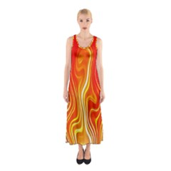 Fire Flames Abstract Background Sleeveless Maxi Dress