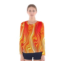 Fire Flames Abstract Background Women s Long Sleeve Tee